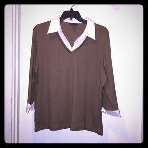 Karen Scott Women sz 2X faux blouse sweater w/cuff
